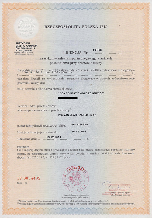 Shipping license
